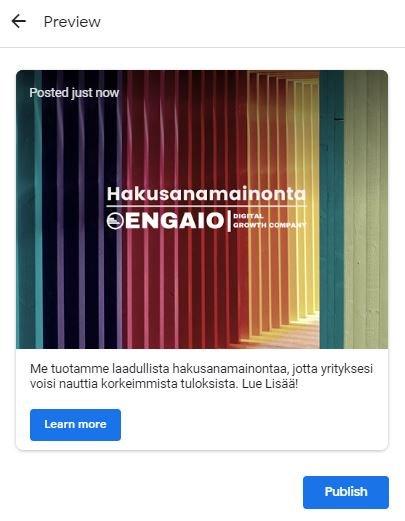 Google My Business Postaus ja sen esikatselu