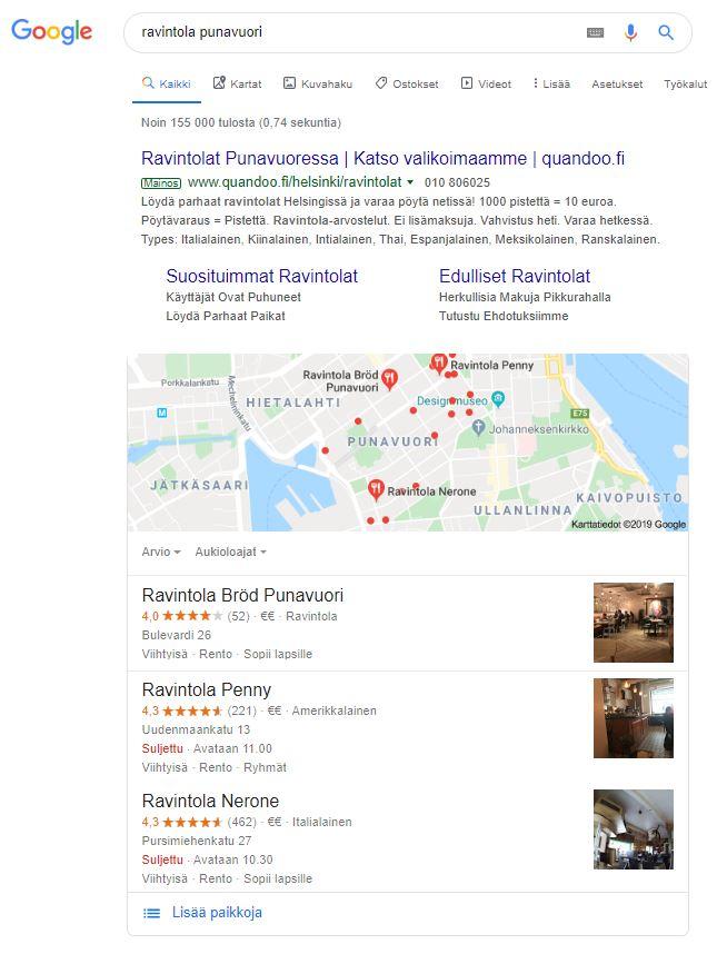Google My Business Paikallisen hakutuloksien näkyvyys
