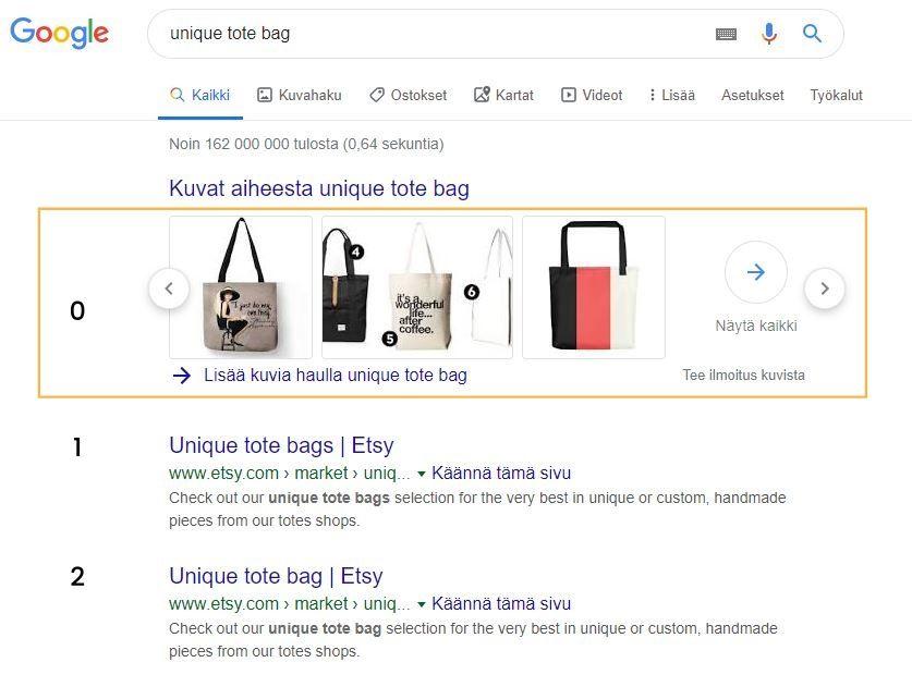 Google hakukoneen nollasija esimerkki