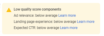 Low Quality Score Components Google Ads Cost