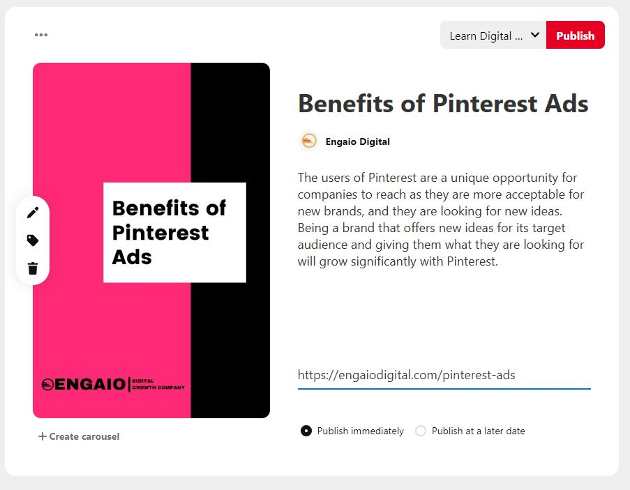 Pinterest ads Promoted Pin Exampe