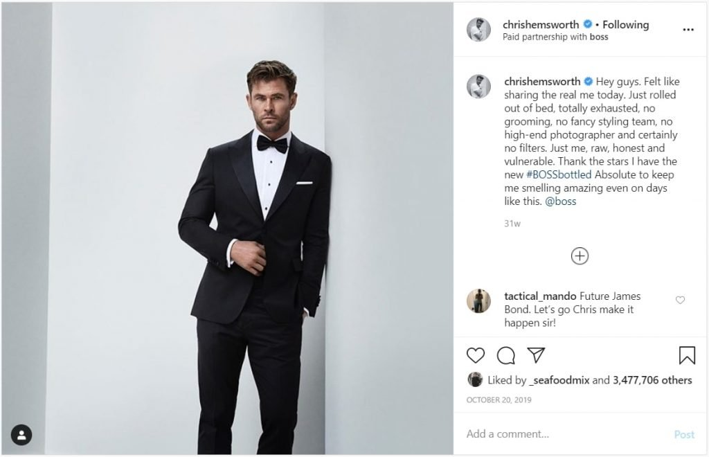Chris Hemsworth Paid Partnership Boss Influencer Marketing