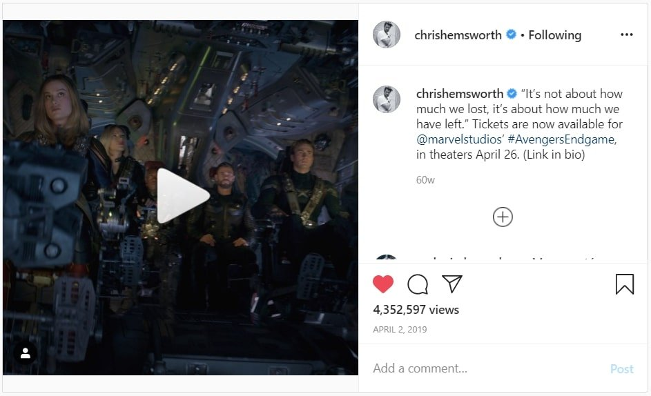 Chrishemsworth pre-release campaign for Avengers End Game