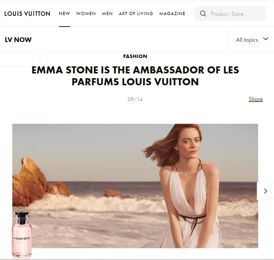 Emma Stone As an Ambassador For Louis Vuitton Brand Ambassador Influencer Marketing Campaign
