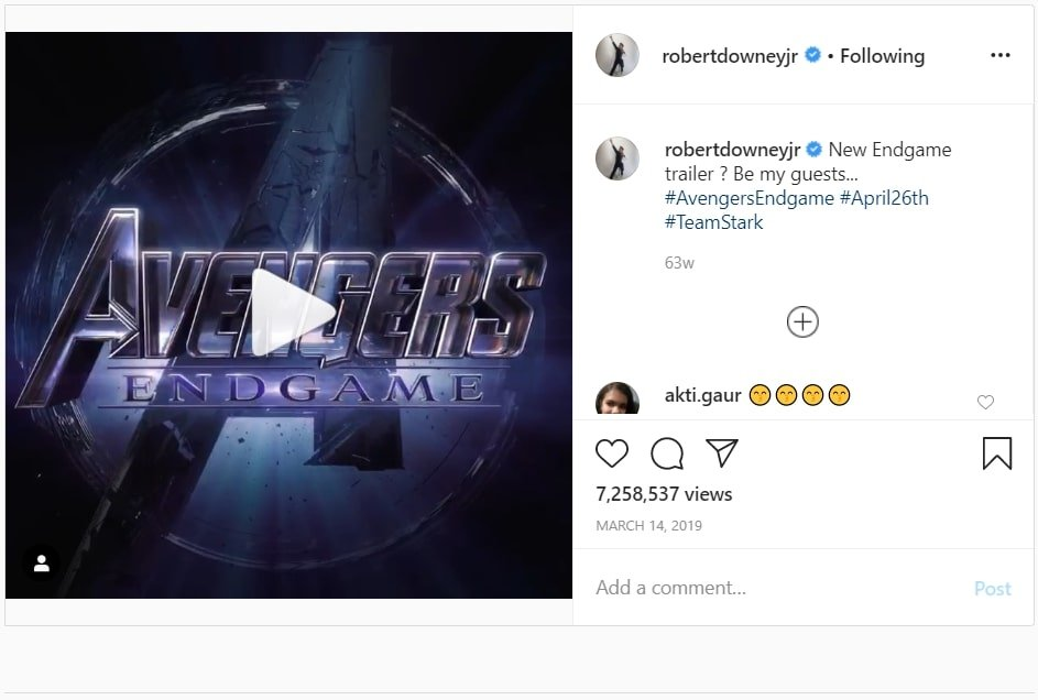 Robertdowneyjr Pre-release campaign for Avengers End Game