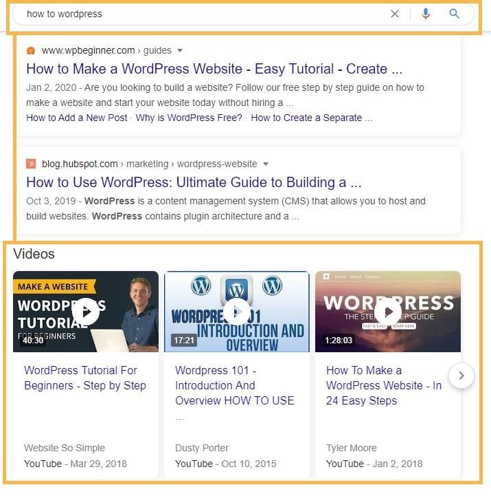 Youtube Videos in Google Search