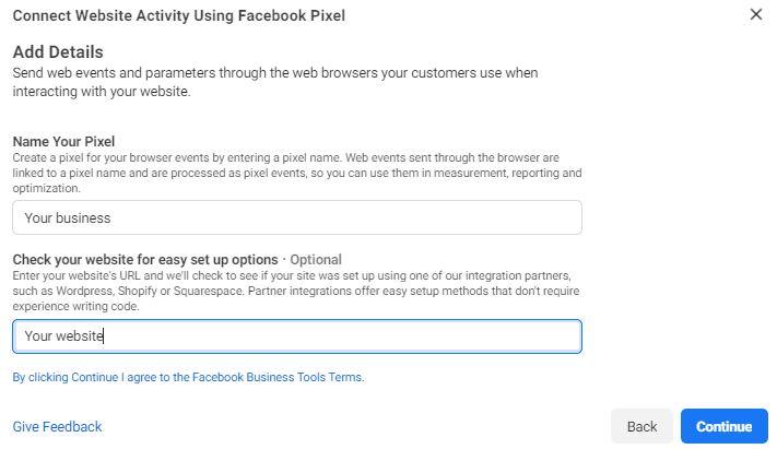 Facebook Pixel Setup First Step