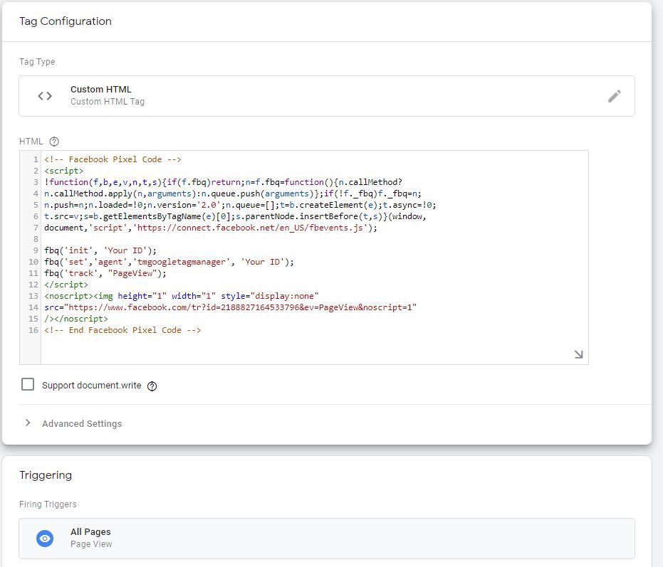 Google Tag Manager Installation Of Facebook Pixel