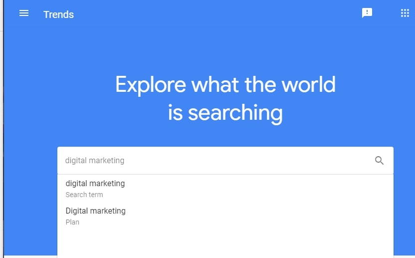 Google Trends Search Keyword Types