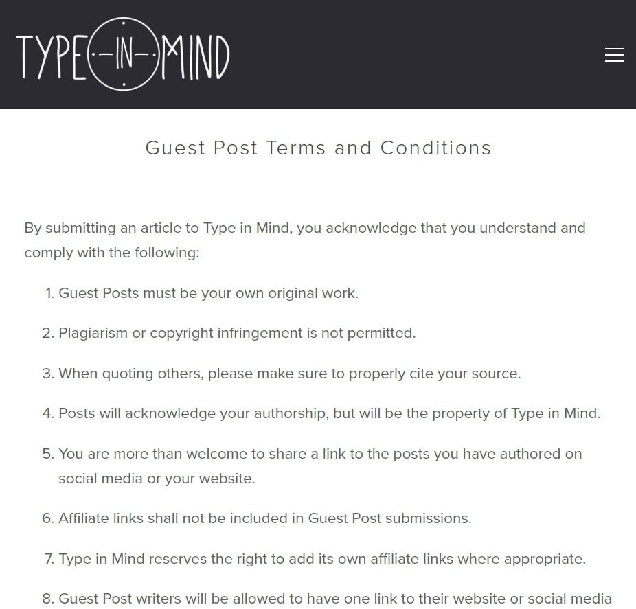 How Type In Mind Explains Their Guest Post Terms And Conditions