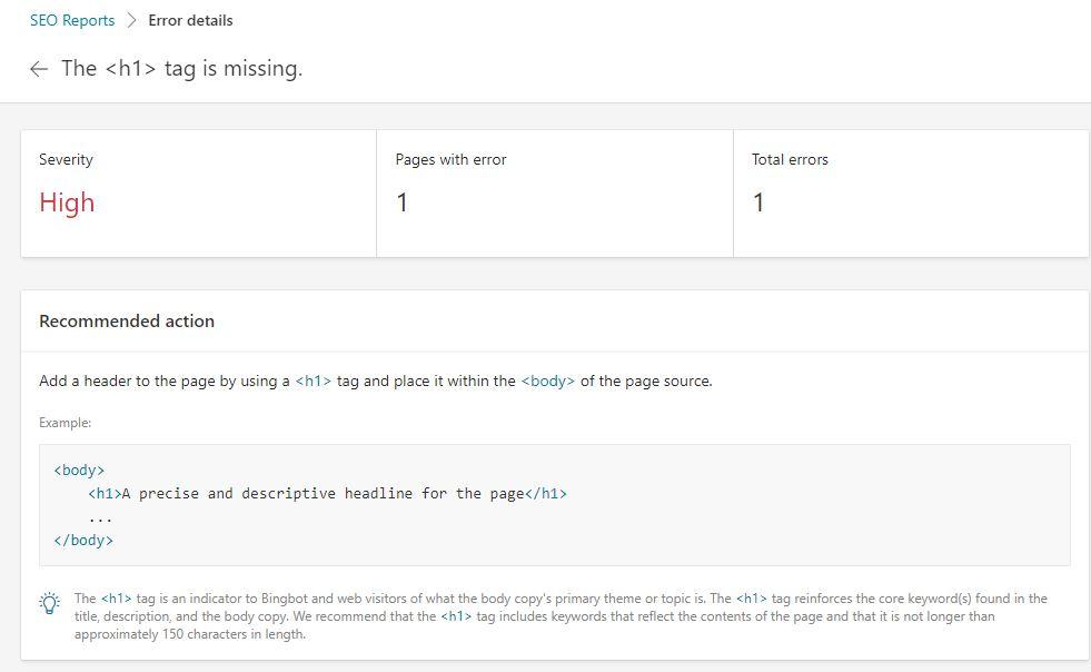 SEO Report Bing