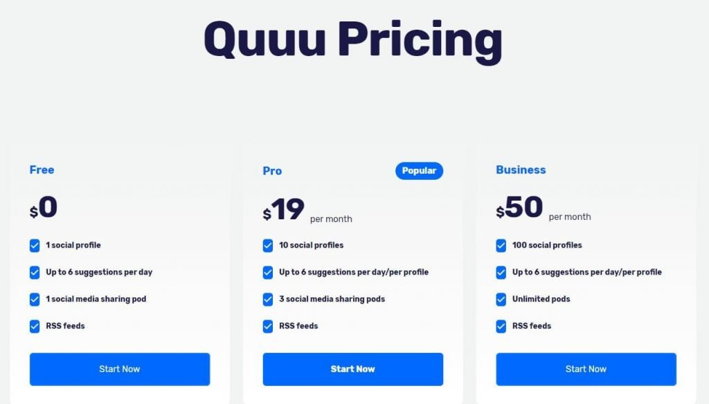 Social Media Marketing Content Sourcing Tool Quuu Pricing