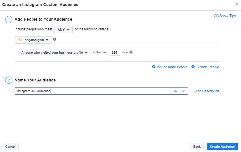 Instagram Business Profile Custom Audience Facebook Ads