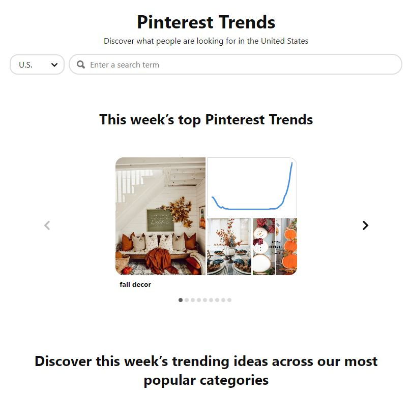 Pinterest Trends Landing Page