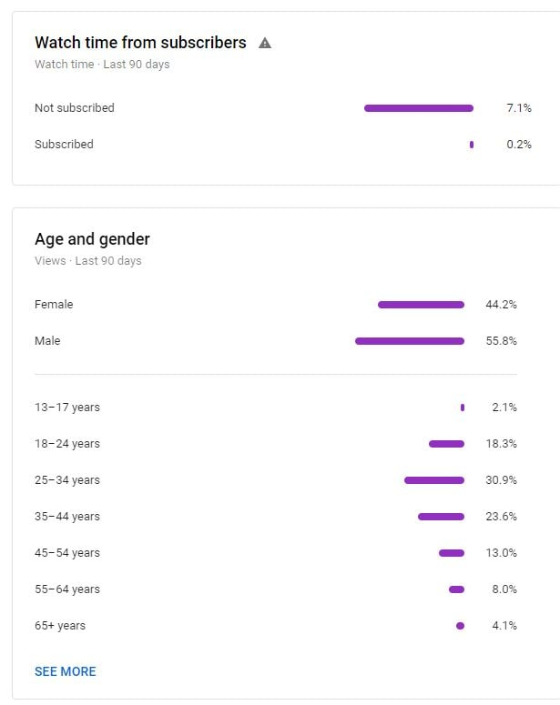 YouTube Channel Analytics Audience Demographics Dashboard