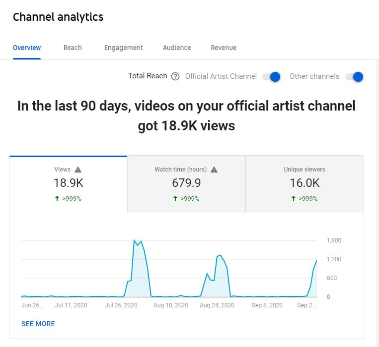 YouTube Channel Analytics Overview Dashboard