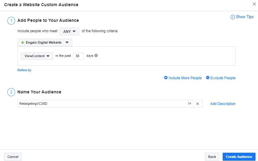 Creating A Retargeting Custom Audience For Facebook Ads